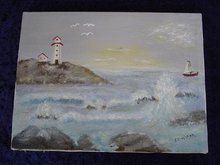 VINTAGE PAINTING ON CANVAS - LIGHTHOUSE- SEA &