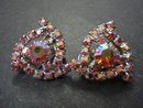 RHINESTONE BROOCH&EARRINGS-IRIDESCENT PINK