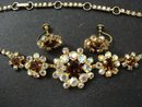 RHINESTONE PARURE SET-NECKLACE&EARRINGS
