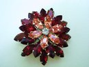 LOVELY 1940's Signed RHINESTONE BROOCH