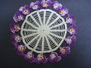 ANTIQUE  FIGURAL LACE DOILY-PANSY BLOSSOMS