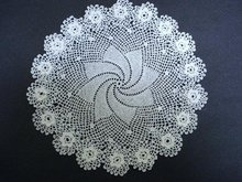 VERY FINE IRISH STYLE FIGURAL LACE DOILY