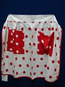 LOVELY VINTAGE LADIES APRON - RED POLKA DOTS