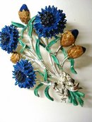 GORGEOUS FLORAL LARGE ENAMELD BROOCH
