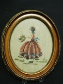ANTIQUE NEEDLEWORK OVAL FRAME PICTURE #9