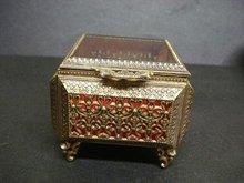 EXQUISITE FILIGREE & GLASS -  JEWELRY BOX