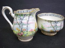 ROYAL ALBERT CREAM & SUGAR   *SILVER BIRCH*