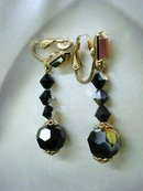 ART DECO - BLACK JET - GLASS DROP EARRINGS
