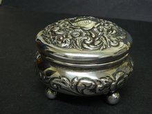 VICTORIAN STERLING SILVER FOOTED JEWELRY BOX