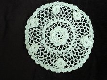 Unusual oval lace doily 3 D roses