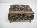 SILVER TONE METAL - JEWELRY BOX  - CHERUB