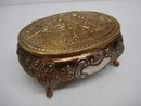LOVELY GOLD TONE OVAL JEWELRY BOX