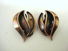 Pretty DECO COPPER  CLIP EARRINGS