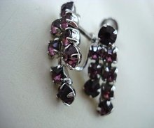 Purple RHINESTONE SCREW-BACK  EARRINGS