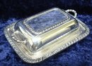 ELEGANT ENGLISH SILVER PLATE 2 pc. BUTTER DISH