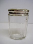 BIRKS STERLING & CRYSTAL OBLONG POT - JAR
