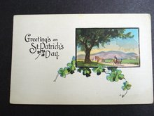ST PATRICK's DAY GREETING -  LINEN POSTCARD