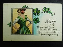Charming ST PATRICK's DAY-LINEN POSTCARD