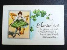 ST PATRICK's & IRELAND DAY-LINEN POSTCARD