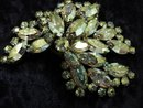 DECO IRIDESCENT RHINESTONE LARGE BROOCH