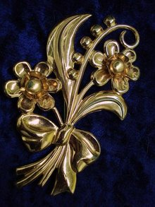 LARGE SIGNED STERLING BROOCH-FLOWERS&BOW