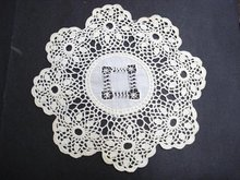 ROUND LACE DOILY with DRAWNTHREAD WORK