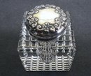 VICTORIAN INKWELL BOTTLE - STERLING / CRYSTAL