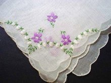 UNUSED HANKIE - VIOLETS & LILY of the VALLEY