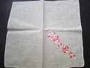 PRETTY VINTAGE HANKIE - SILK EMBROIDERY