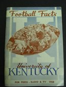 KENTUCKY FOOTBALL MEDIA GUIDE 1958