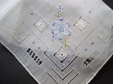 PRETTY HANKIE-DRAWNTHREAD & EMBROIDERY