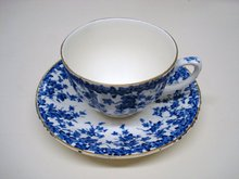 CROWN DUCAL TEACUP & SAUCER  SET BLUE IVY