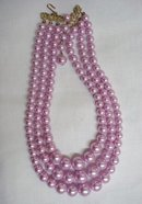 LOVELY VINTAGE 3 STRAND PINK FAUX PEARLS
