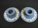 WEDGWOOD BLUE JASPERWARE CANDLE HOLDERS