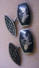 LOVELY SIAM STERLING / ENAMEL PR. CUFFLINKS