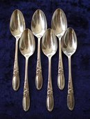 6 TINY SILVER COFFEE SPOONS - WHITE ORCHID