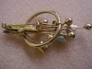 Very Pretty Vintage Brooch Gold Tone Colorful Enamel and Crystal Stones