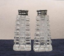 CRYSTAL SALT & PEPPER SHAKERS-DEEP CUT