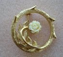 Special Vintage Brooch Gold Tone Ivory Rose