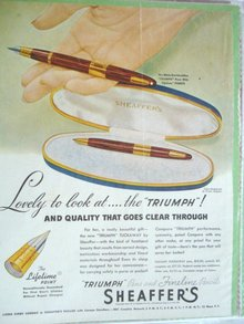MAGAZINE ADVERTISEMENT 1946 SHEAFFER'S