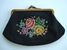 PETIT POINT Embroidered Change PURSE