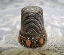 Antique Silver Thimble Coral Stones