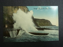 Postcard  Rough Sea Rock-a_Nore Hastings