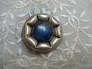 Celluloid Vintage Button - Silver - Blue