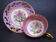 Luster Footed Teacup Set Vintage