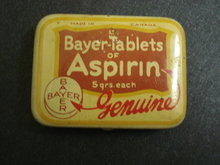 12 BAYER TABLETS ASPIRIN TIN BOX
