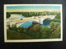 Beautiful LINEN POSTCARD MARYLAND BRIDGE WINNIPEG MB