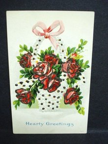 ANTIQUE POSTCARD - HEARTY GREETINGS