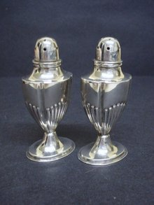 BIRKS STERLING DECO SALT & PEPPER SHAKERS