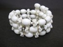 Beautiful Vintage Bracelet Milk Glass and Rhinestones